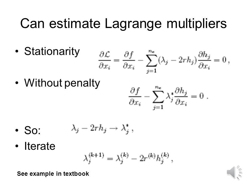 Can estimate Lagrange multipliers