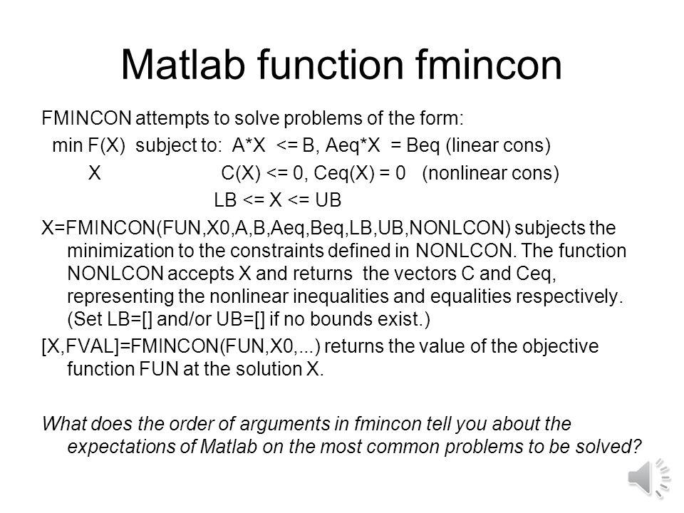 Matlab function fmincon