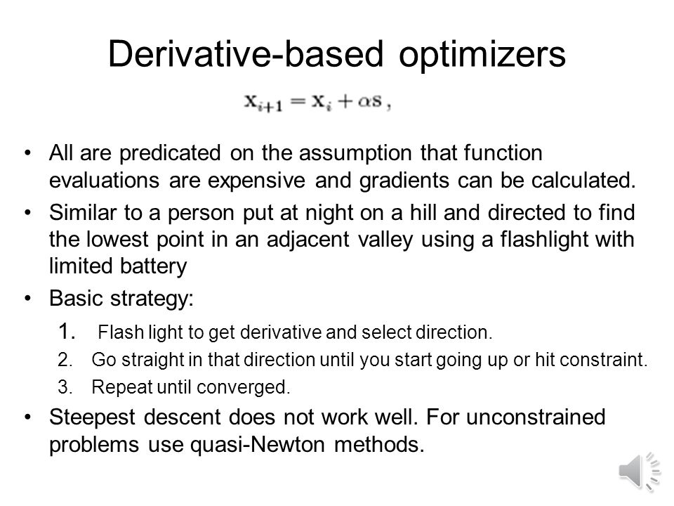 Derivative-based optimizers