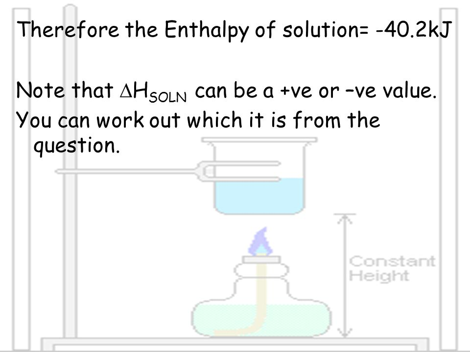 Therefore the Enthalpy of solution= -40.2kJ