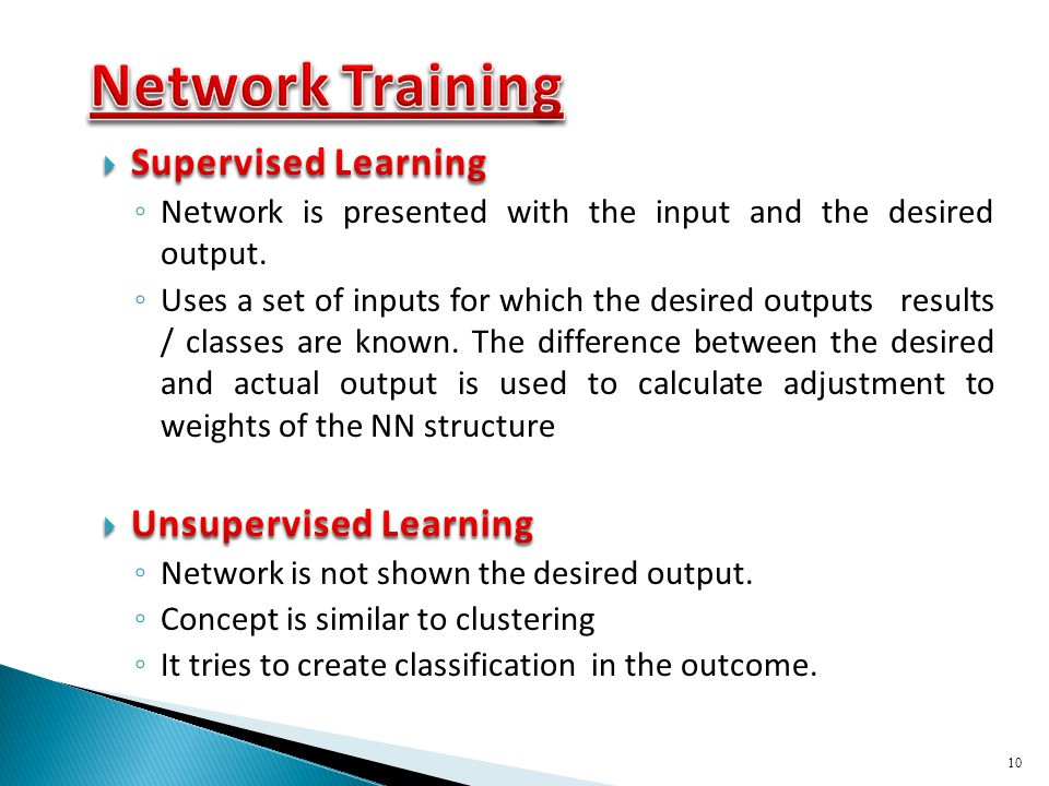Network Training Supervised Learning Unsupervised Learning
