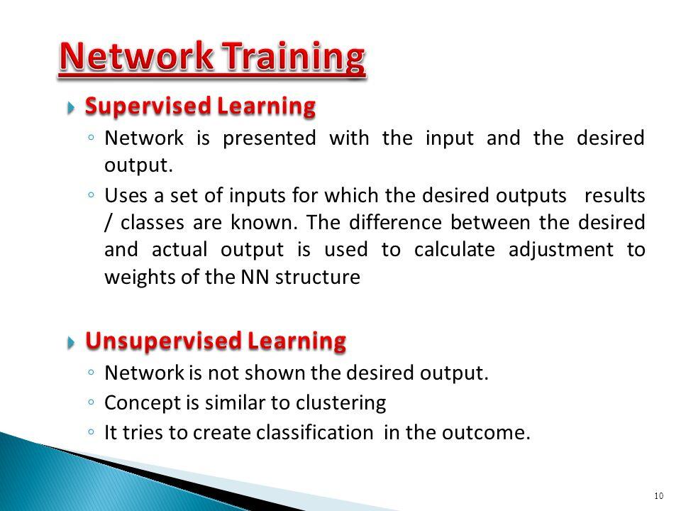 Network Training Supervised Learning Unsupervised Learning