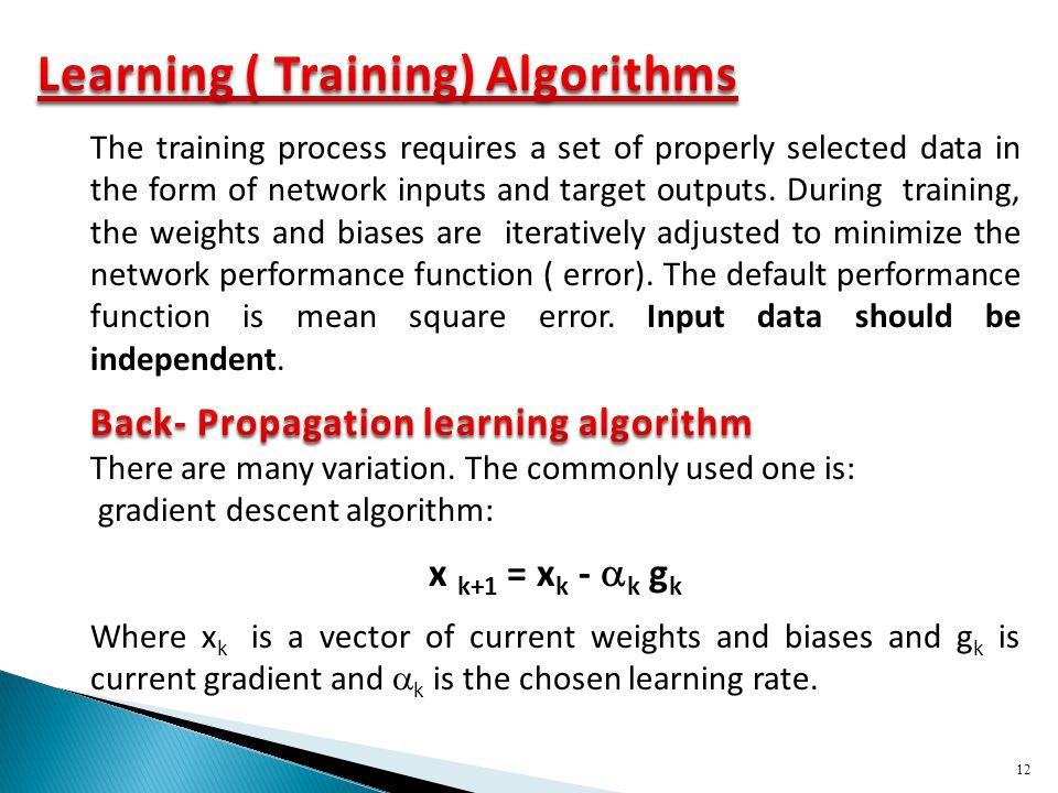 Learning ( Training) Algorithms