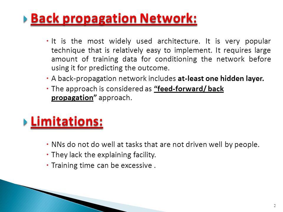 Back propagation Network:
