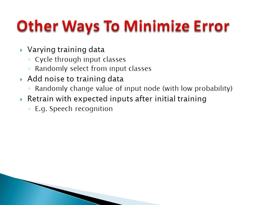 Other Ways To Minimize Error