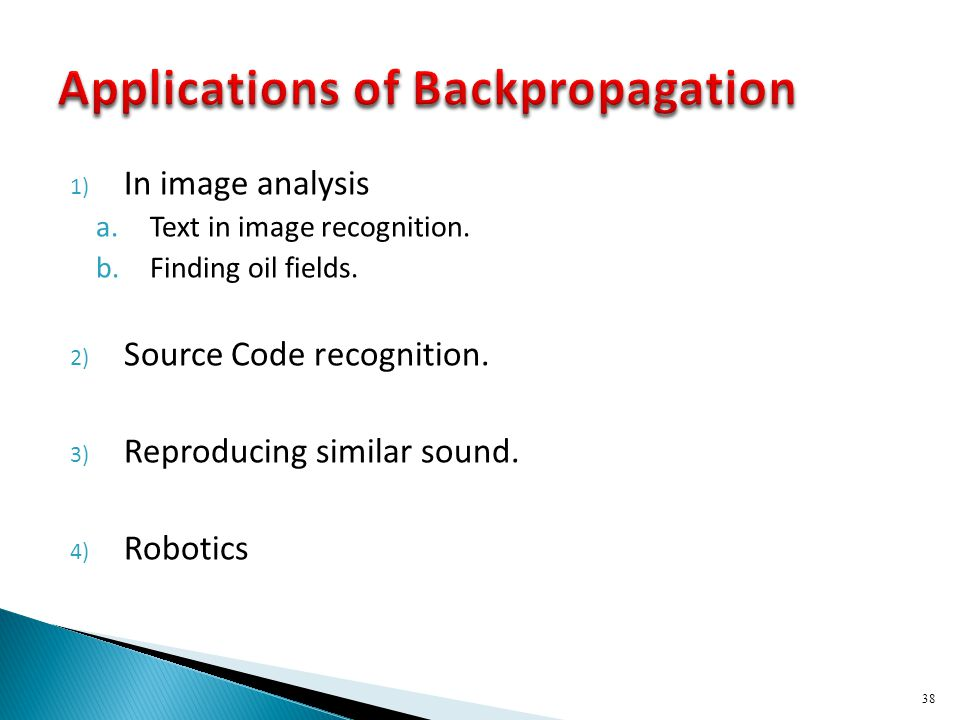 Applications of Backpropagation