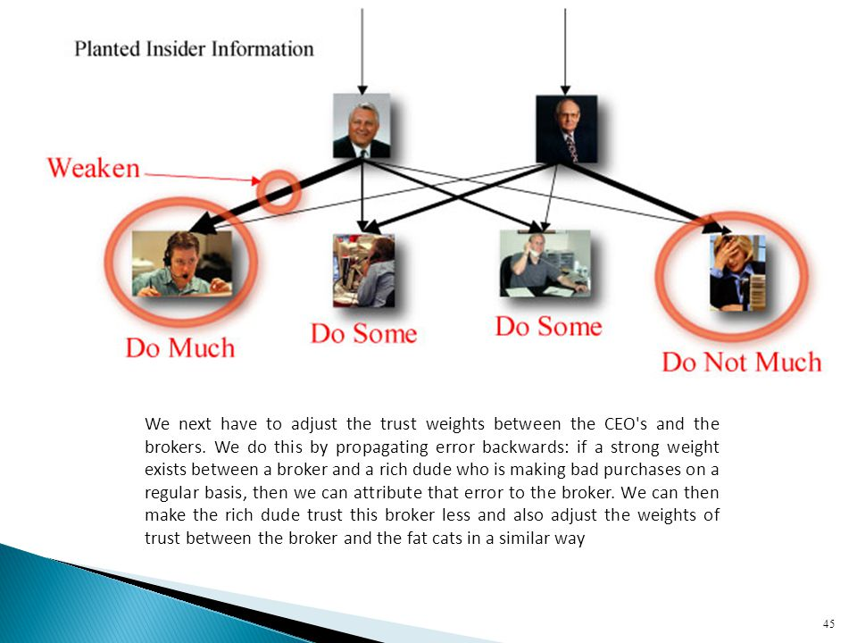 We next have to adjust the trust weights between the CEO s and the brokers.