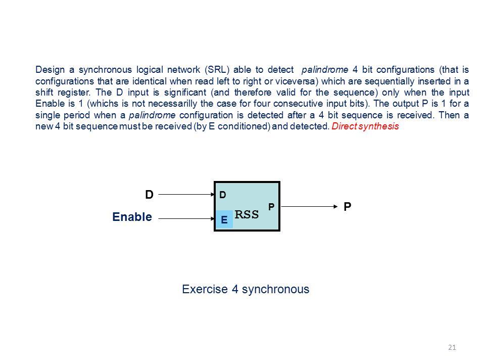 RSS D P Enable V Exercise 4 synchronous E