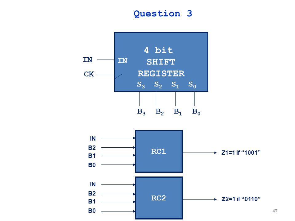 Question 3 4 bit SHIFT REGISTER