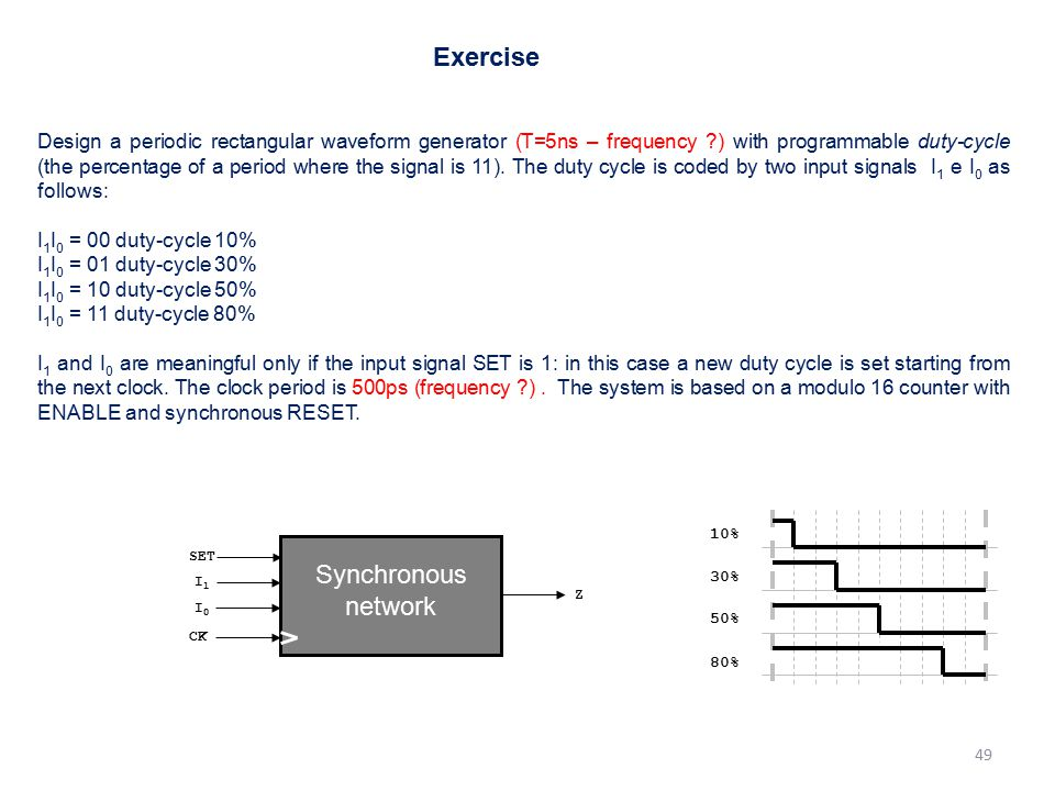 Exercise Synchronous network
