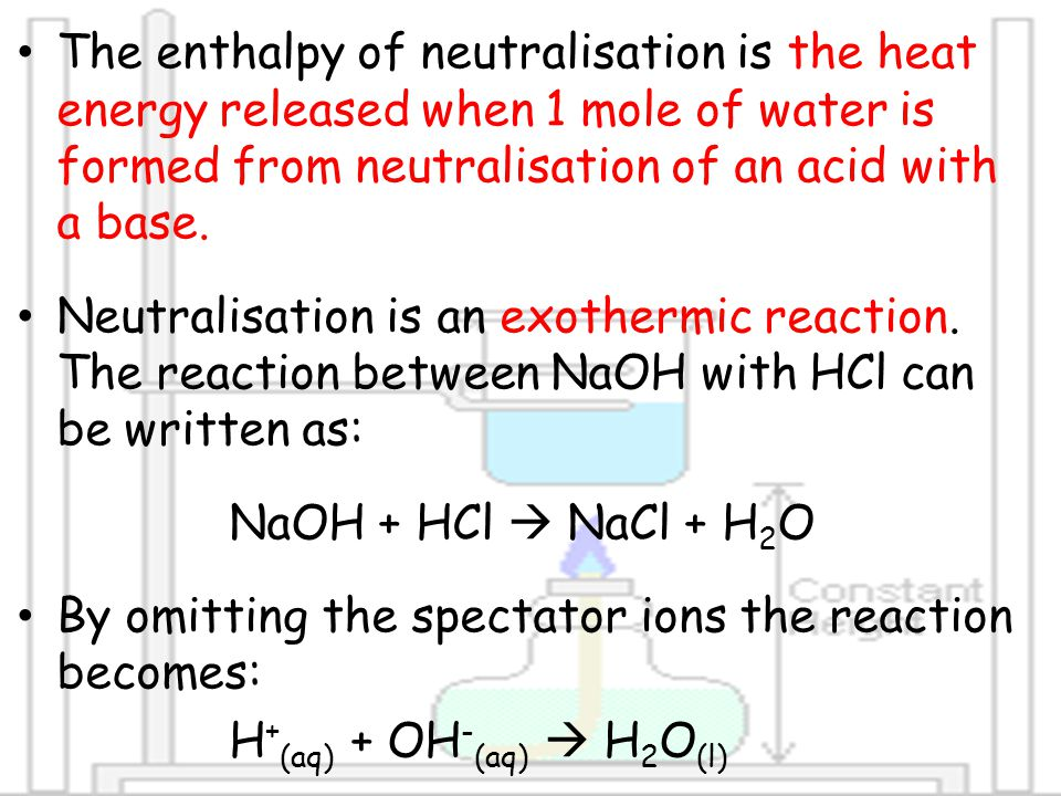 enthalpy of neutralisation between hcl and naoh essay A mixture of naoh(aq) and na2co3(aq) reaction between hcl(aq  the main essence of a titration is neutralisation  enthalpy of neutralization.
