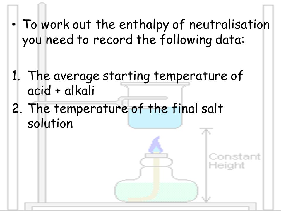 To work out the enthalpy of neutralisation you need to record the following data: