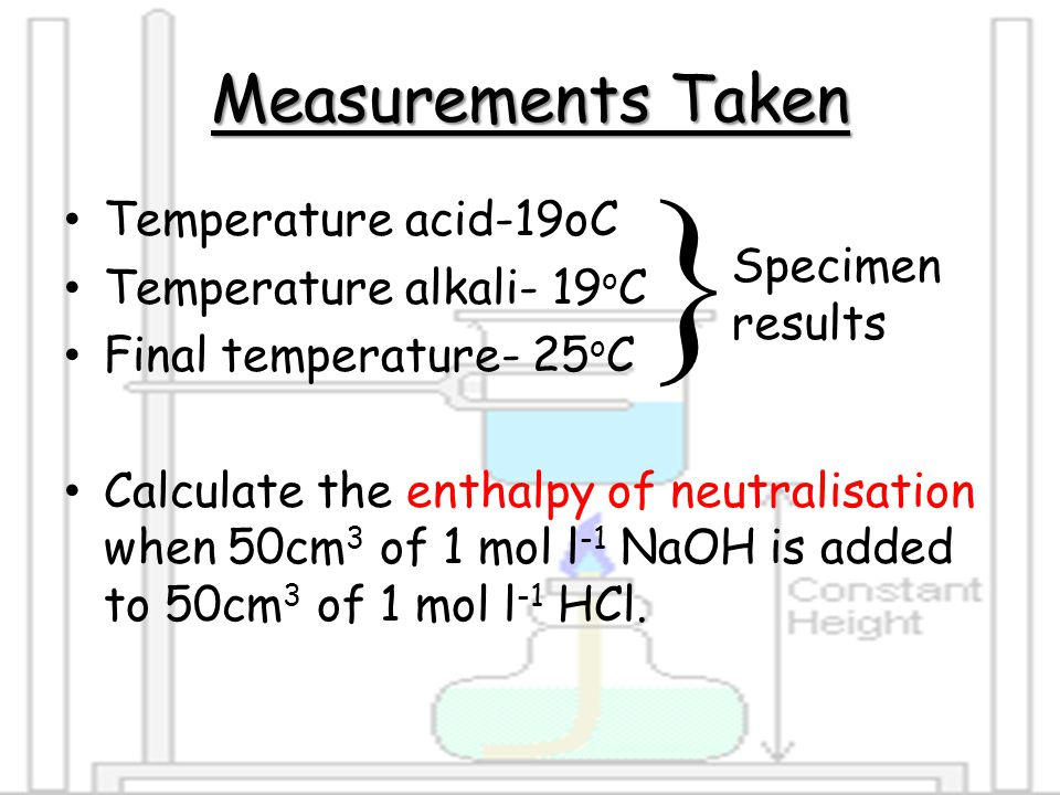  Measurements Taken Temperature acid-19oC Temperature alkali- 19oC