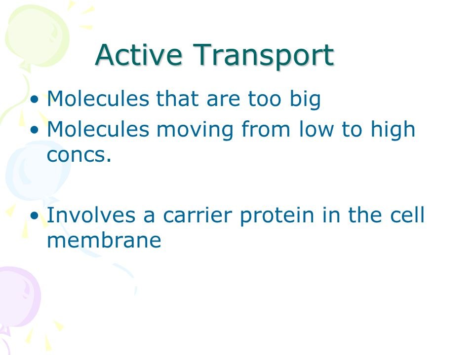 Active Transport Molecules that are too big