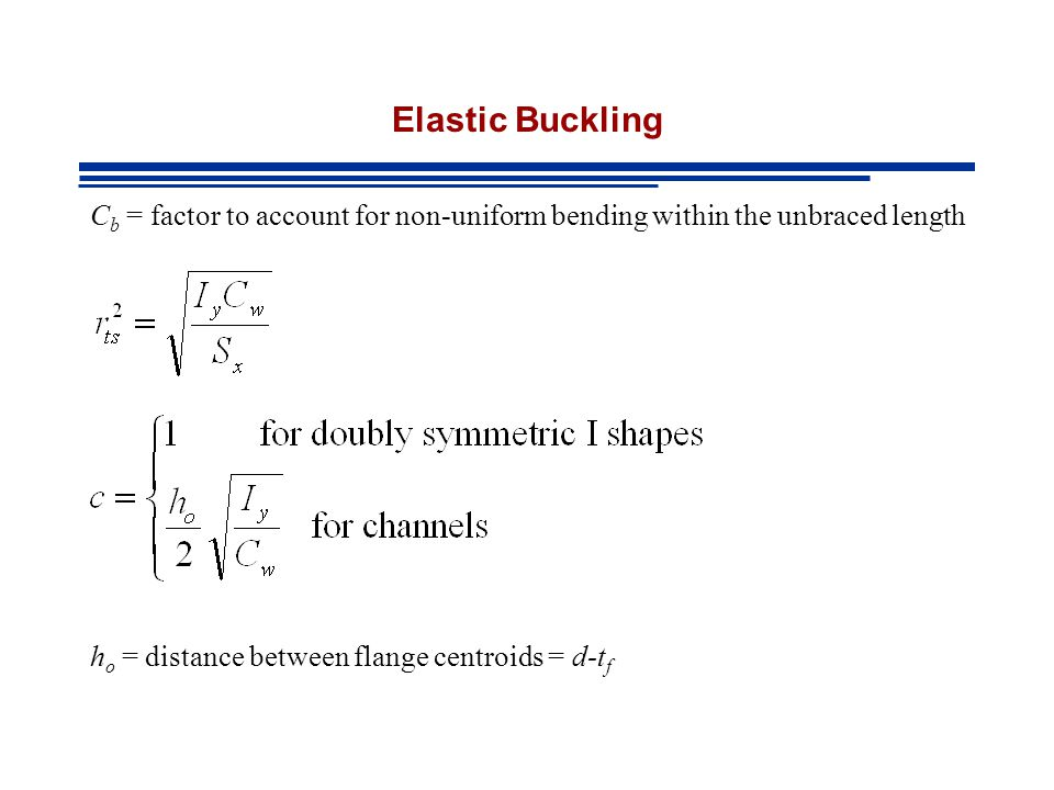 Elastic Buckling Cb = factor to account for non-uniform bending within the unbraced length.