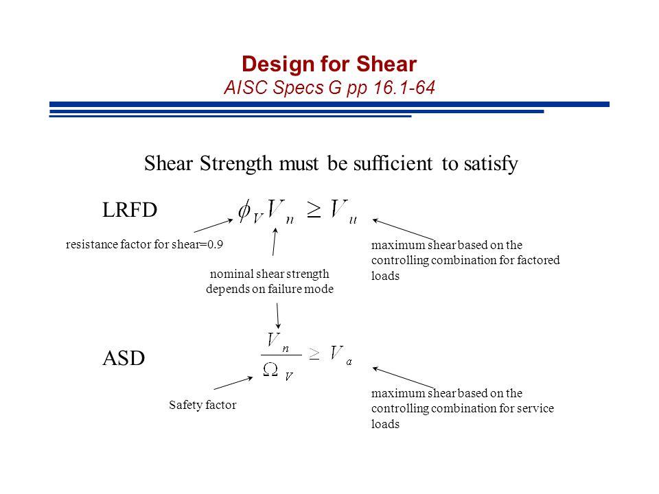 Design for Shear AISC Specs G pp 16.1-64