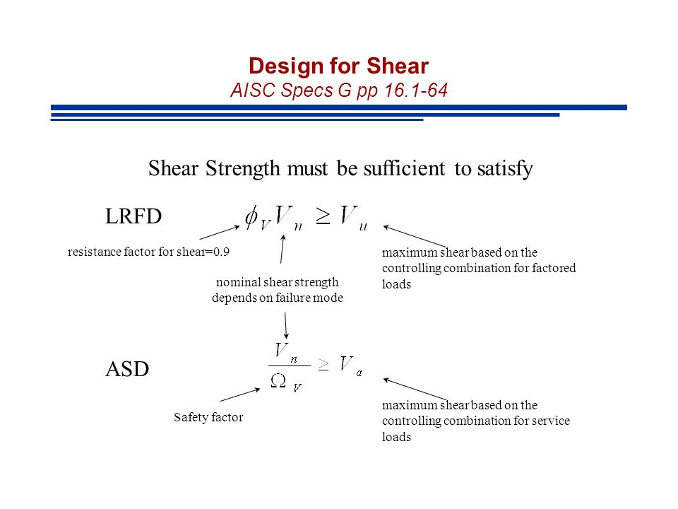Design for Shear AISC Specs G pp