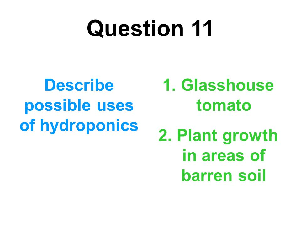 Question 11 Describe possible uses of hydroponics 1. Glasshouse tomato