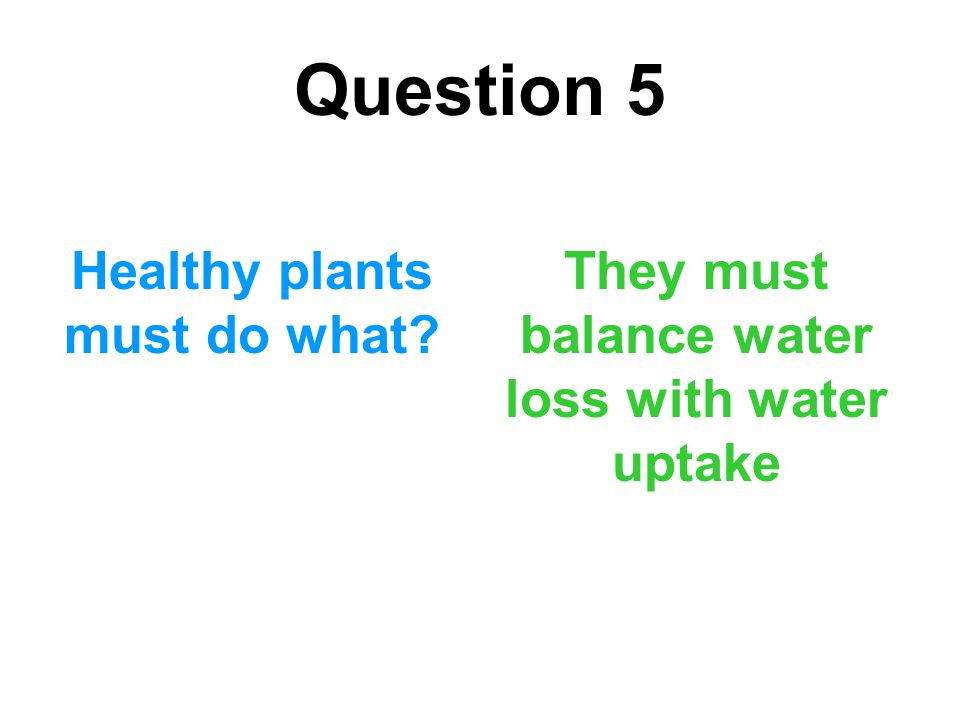 Question 5 Healthy plants must do what