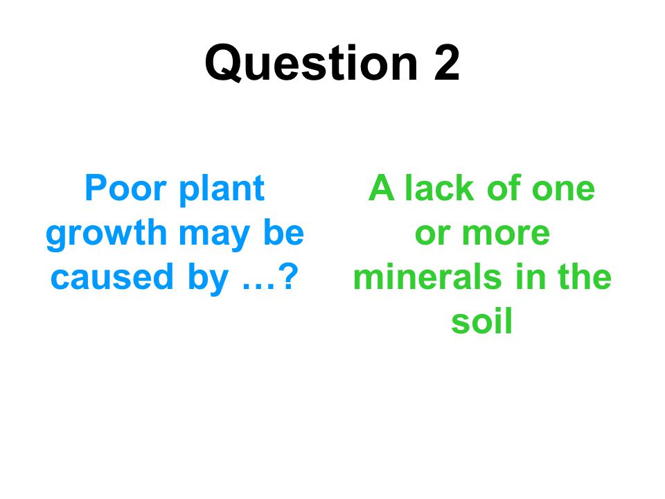 Question 2 Poor plant growth may be caused by …