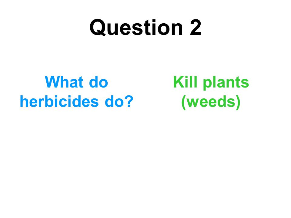 Question 2 What do herbicides do Kill plants (weeds)
