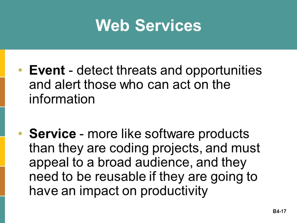 Web Services Event - detect threats and opportunities and alert those who can act on the information.