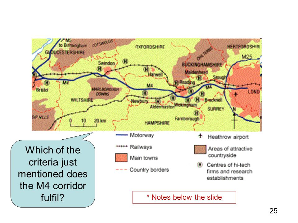 Which of the criteria just mentioned does the M4 corridor fulfil
