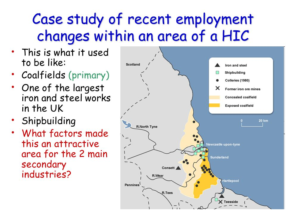 Case study of recent employment changes within an area of a HIC