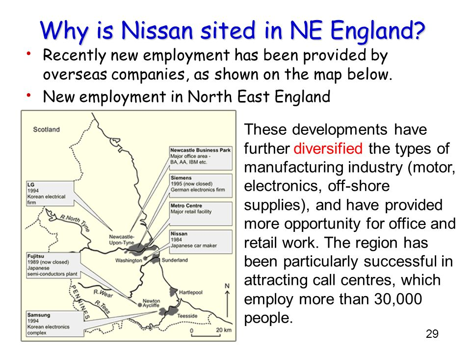 Why is Nissan sited in NE England