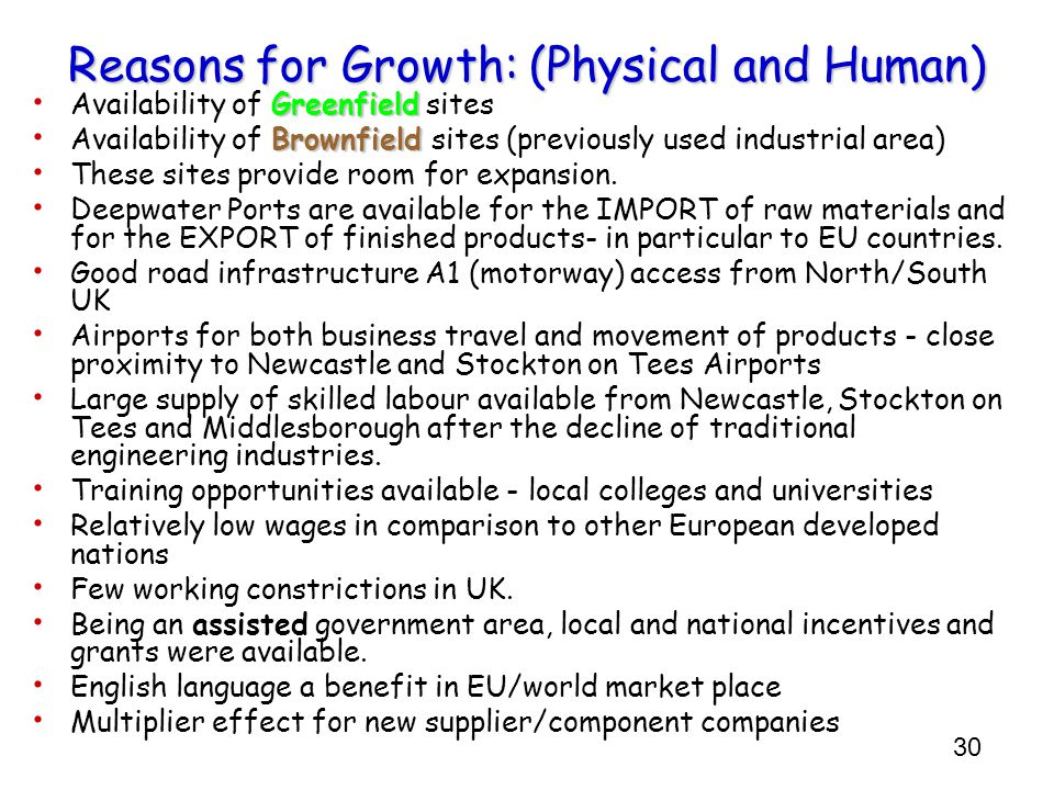 Reasons for Growth: (Physical and Human)