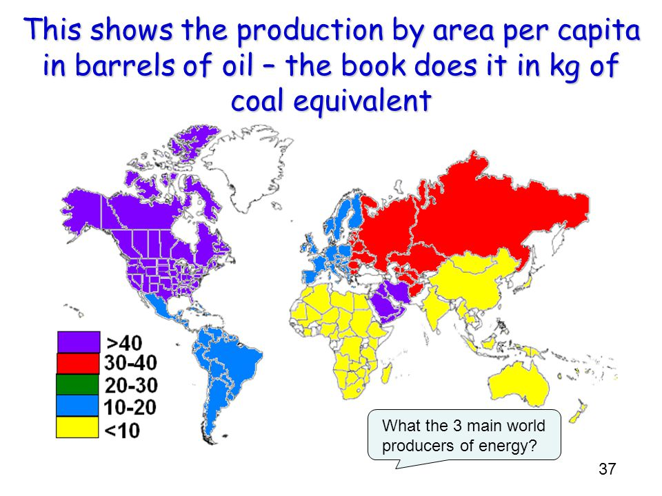 This shows the production by area per capita in barrels of oil – the book does it in kg of coal equivalent