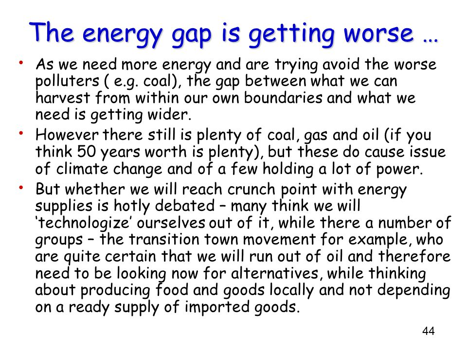 The energy gap is getting worse …