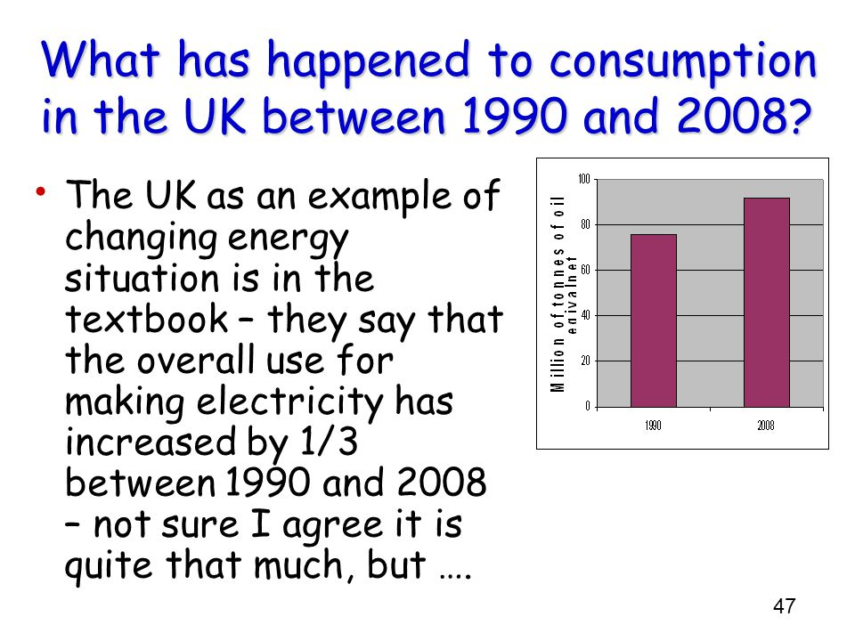 What has happened to consumption in the UK between 1990 and 2008