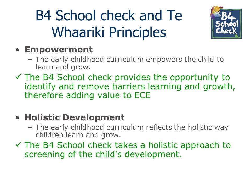 B4 School check and Te Whaariki Principles