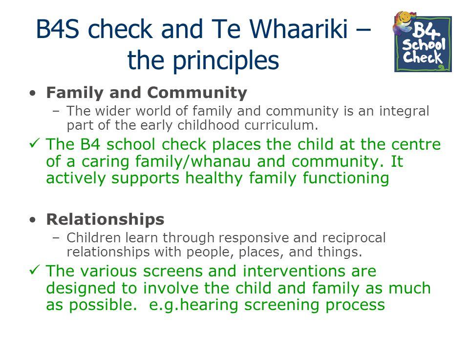 B4S check and Te Whaariki – the principles