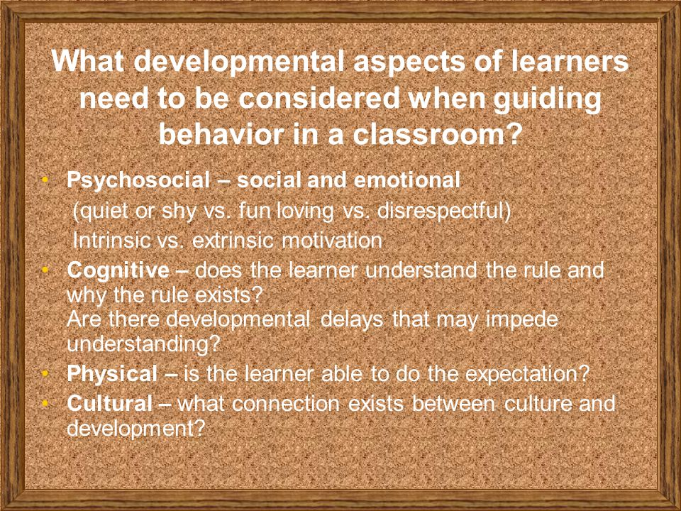 What developmental aspects of learners need to be considered when guiding behavior in a classroom