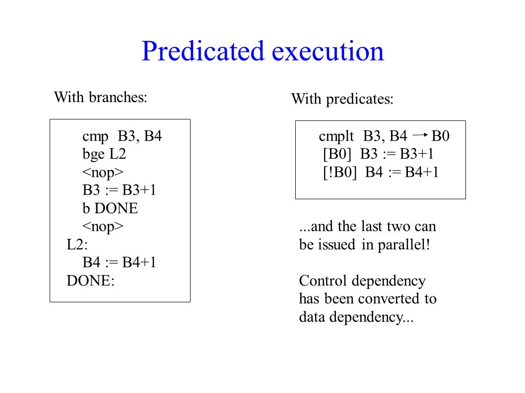 Predicated execution With branches: With predicates: cmp B3, B4 bge L2