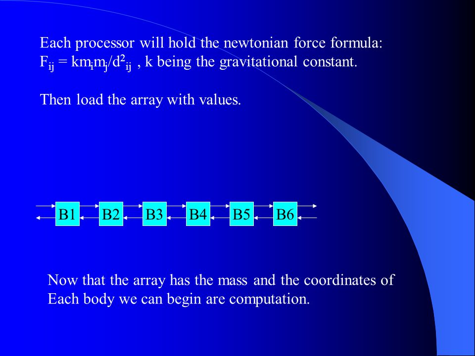Each processor will hold the newtonian force formula: