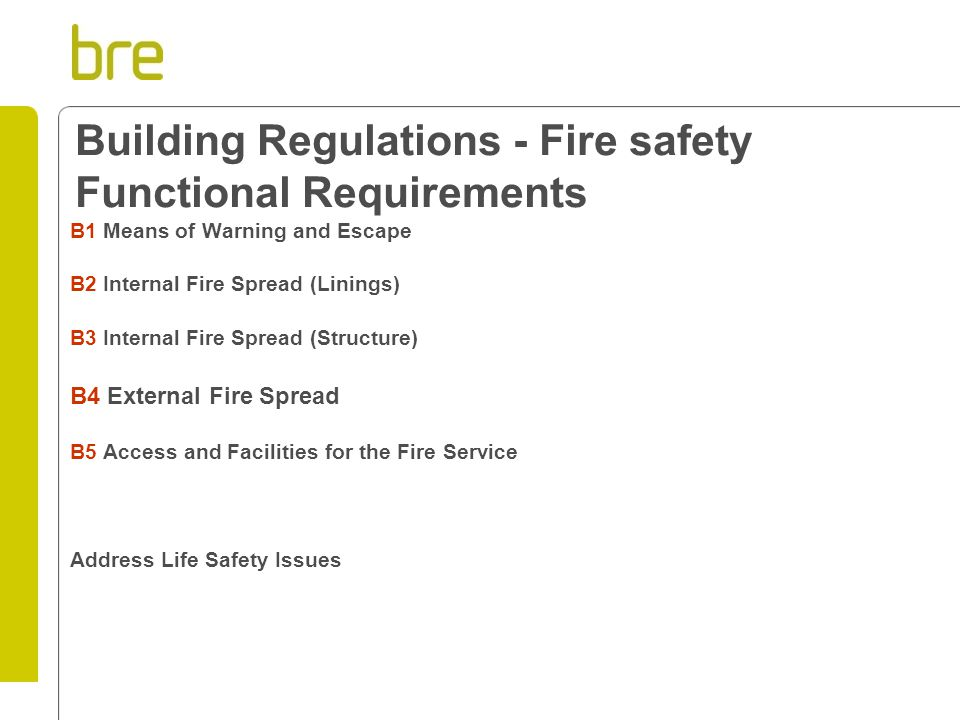 Building Regulations - Fire safety Functional Requirements