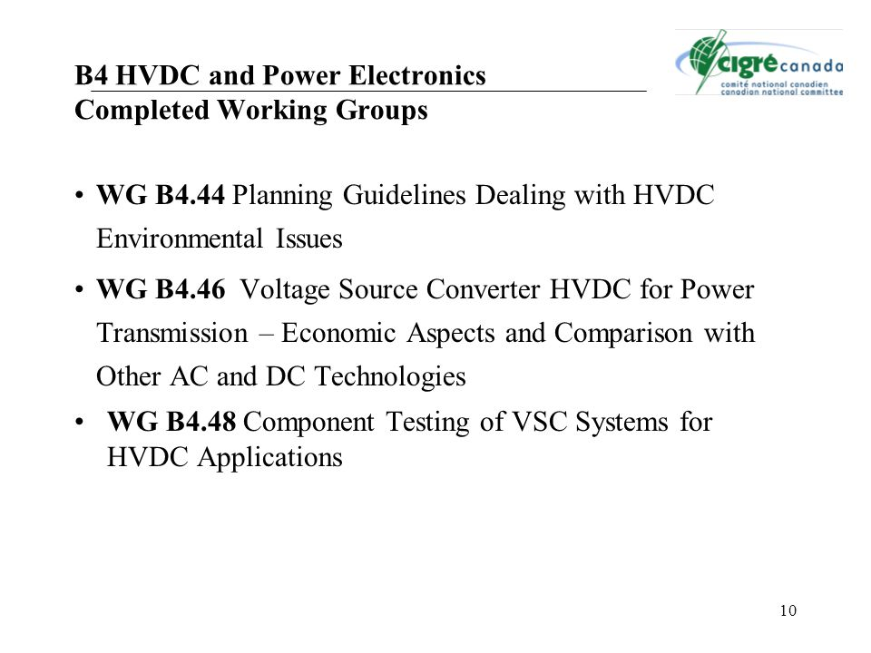 B4 HVDC and Power Electronics Completed Working Groups