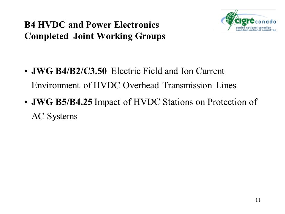 B4 HVDC and Power Electronics Completed Joint Working Groups