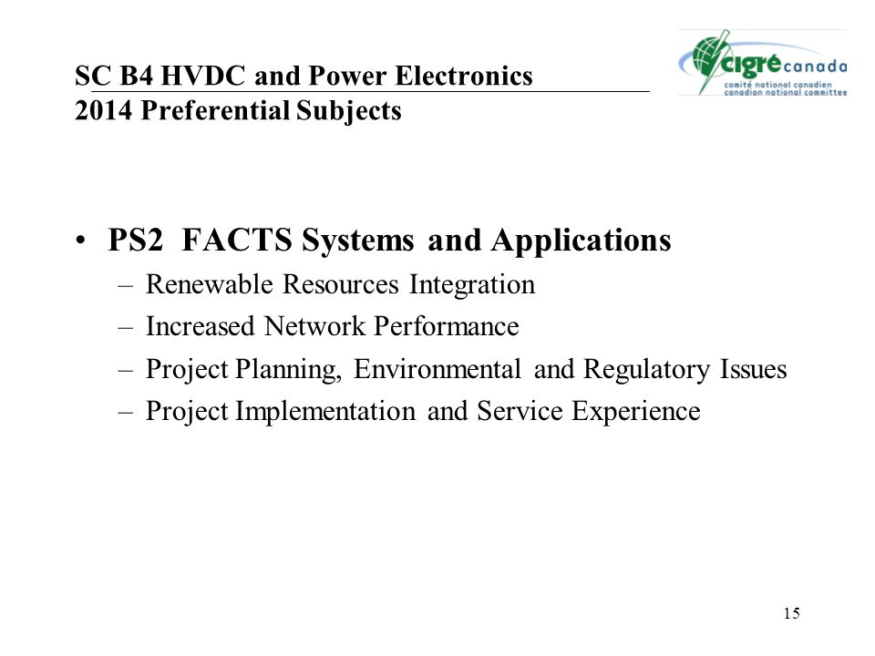 SC B4 HVDC and Power Electronics 2014 Preferential Subjects