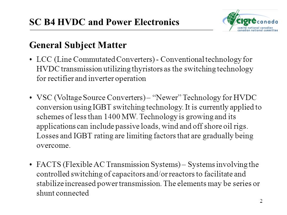SC B4 HVDC and Power Electronics General Subject Matter
