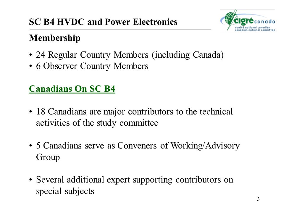 SC B4 HVDC and Power Electronics