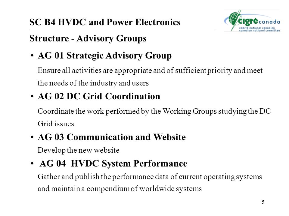 SC B4 HVDC and Power Electronics Structure - Advisory Groups
