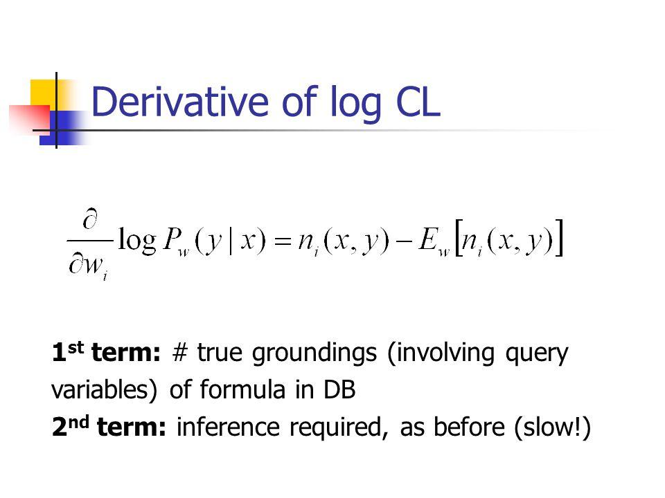 Derivative of log CL 1st term: # true groundings (involving query