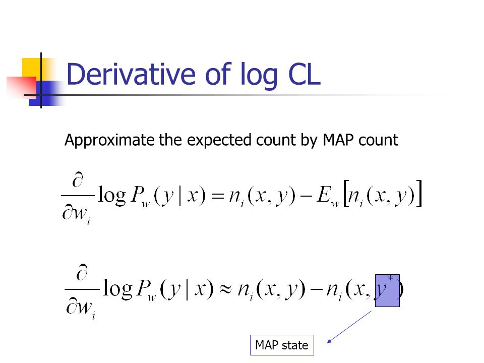 Derivative of log CL Approximate the expected count by MAP count
