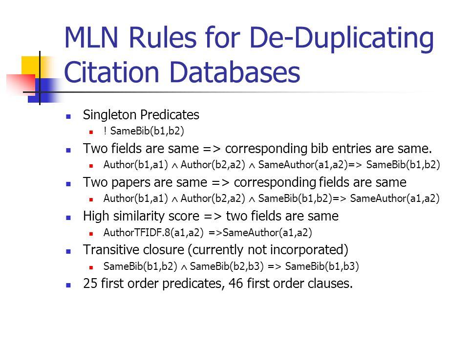 MLN Rules for De-Duplicating Citation Databases