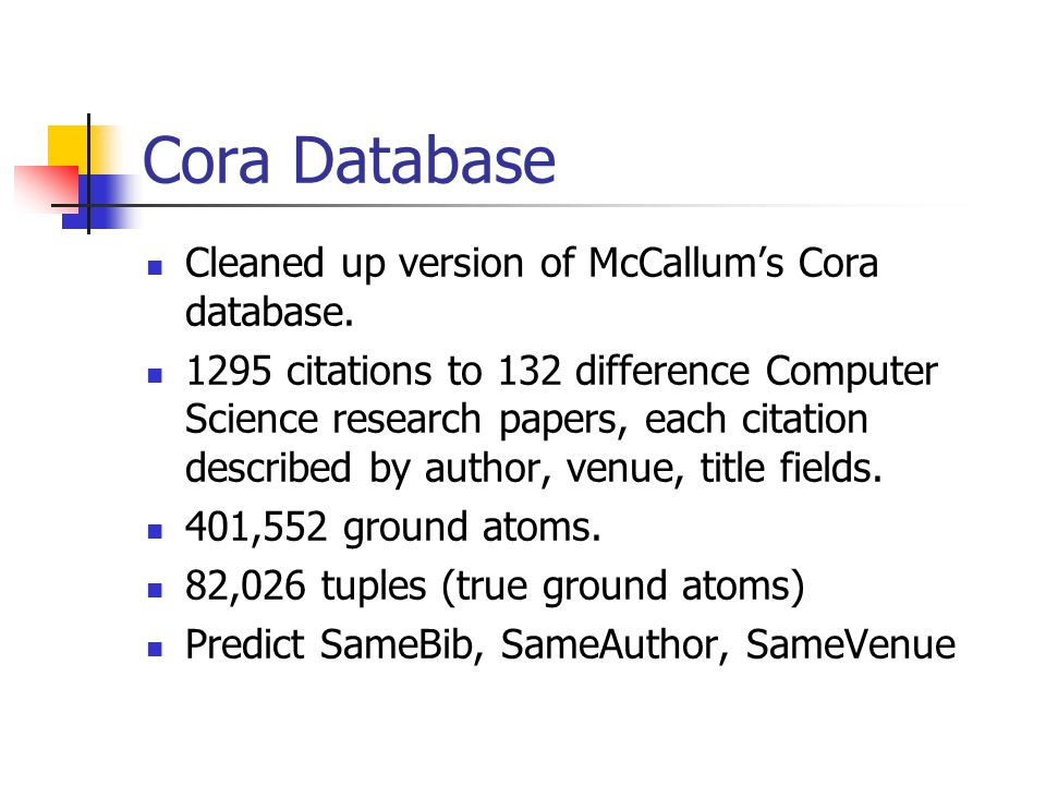 cora research papers Research papers classified into a topic hierarchy with 73 leaves we call this a relational data set, because the citations provide relations among papers cora information extraction [information extraction.