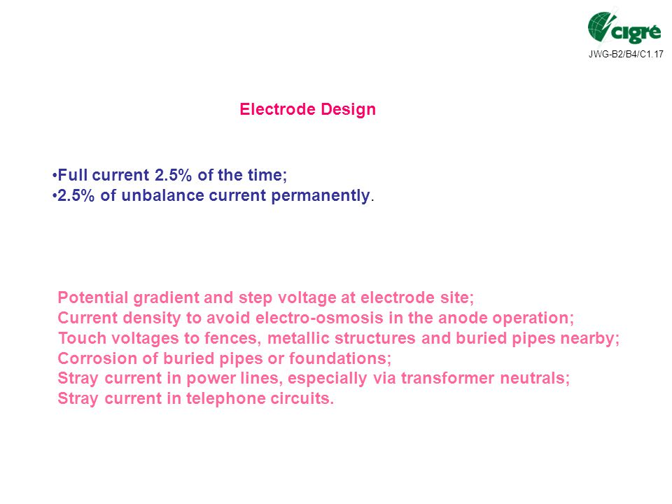 Electrode Design Full current 2.5% of the time; 2.5% of unbalance current permanently. Potential gradient and step voltage at electrode site;